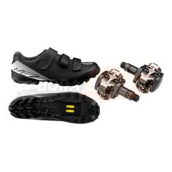 Combo Zapatillas Ciclismo Mtb Me200 + Pedales Shimano M505