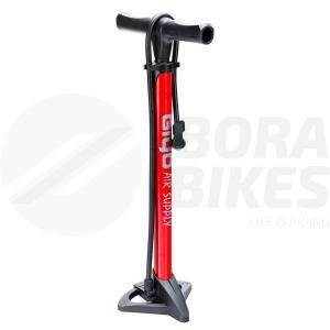 Inflador Pie Acero Reforzado Bicicleta Giyo Gf-37 Rojo Bora
